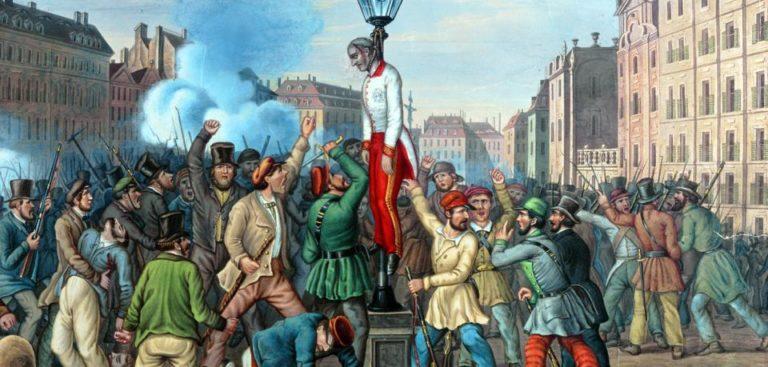 Die Leiche des gelynchten Kriegsministers General Theodor Graf Baillet von Latour wird am Platz am Hof in Wien am 6. Oktober 1848 eine Laterne gehängt