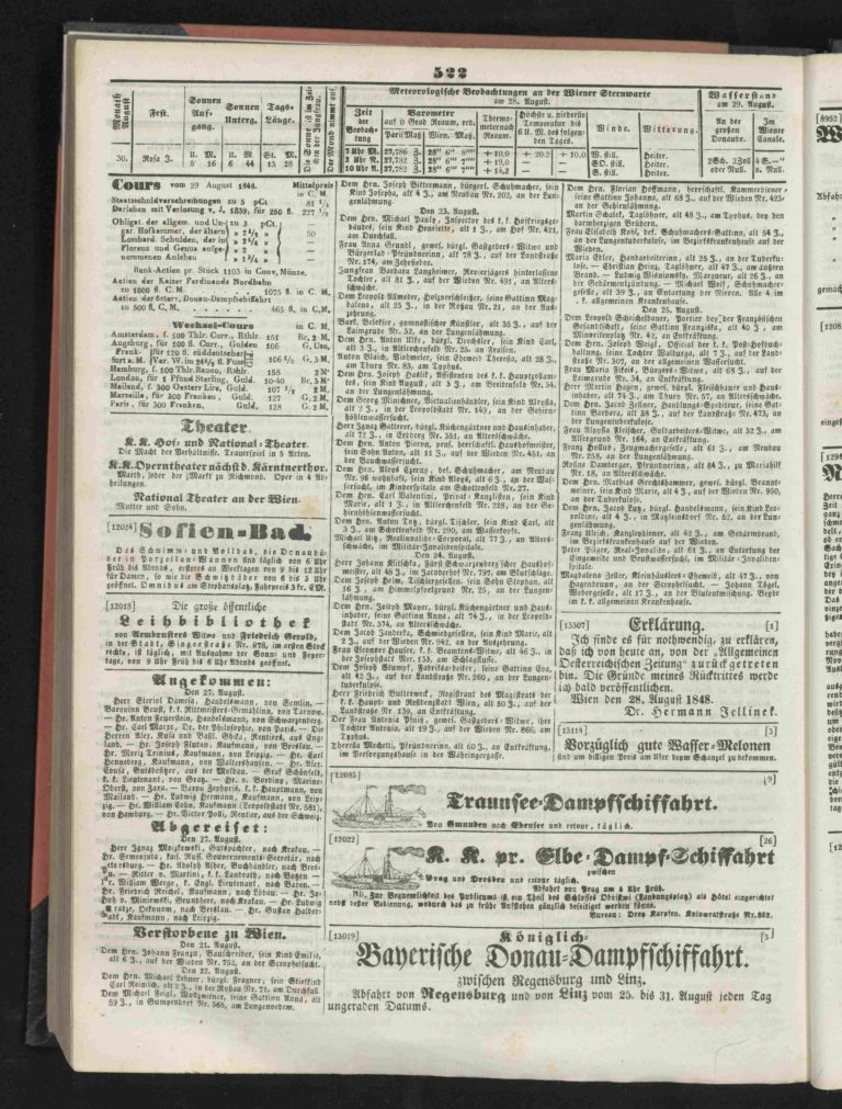 """Karl Marx in Wien. """"Wiener Zeitung"""" vom 27. August 1848, WBR, DS, F-19111/1848."""