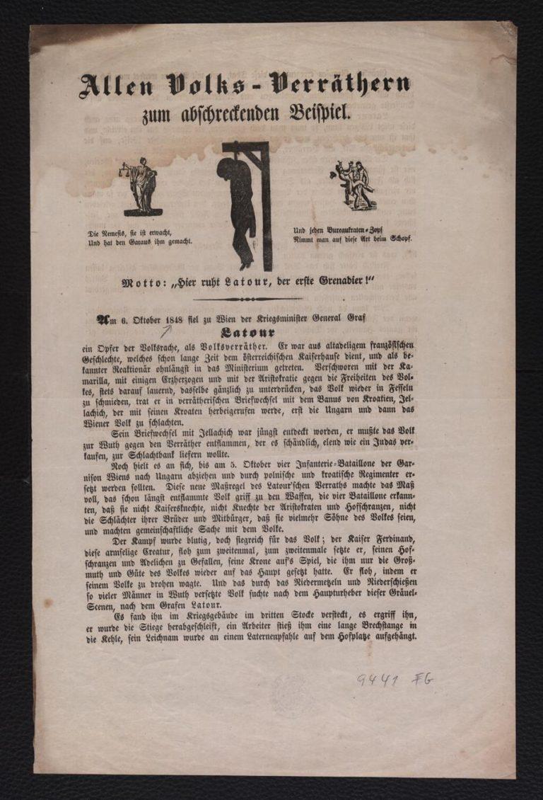 Flugblatt: Wien, nach dem 6. Oktober 1848 Einblattdruck, zweiseitig bedr.