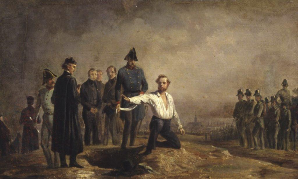 Hinrichtung Robert Blums am 9. November 1848 auf der Brigittenau bei Wien (Gemälde von Carl Constantin Heinrich Steffeck, 1848/49)