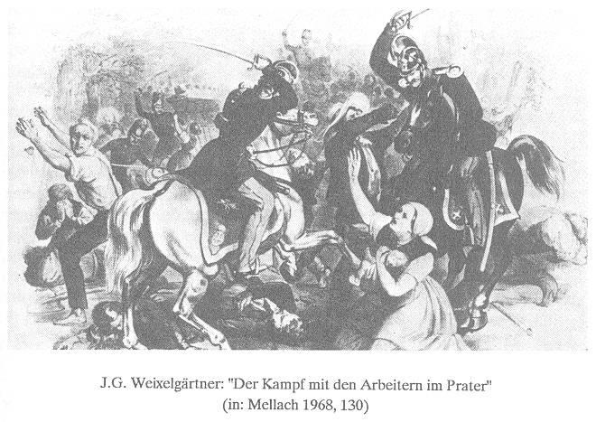 Praterschlacht 1848: Das Militär eröffnet das Feuer auf Demonstrant_innen.