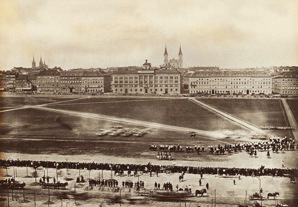 Exerzierplatz auf dem Josefstädter Glacis 1860.