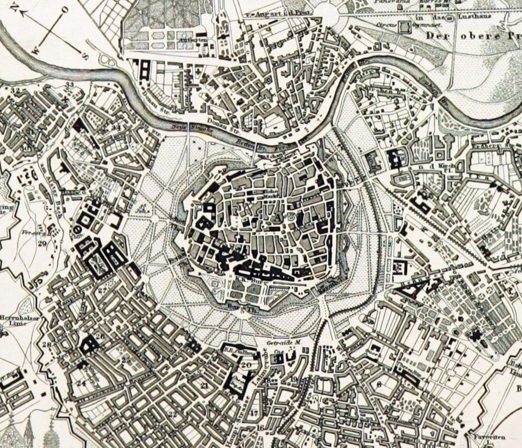 Karte Wiens aus dem Jahr 1843.